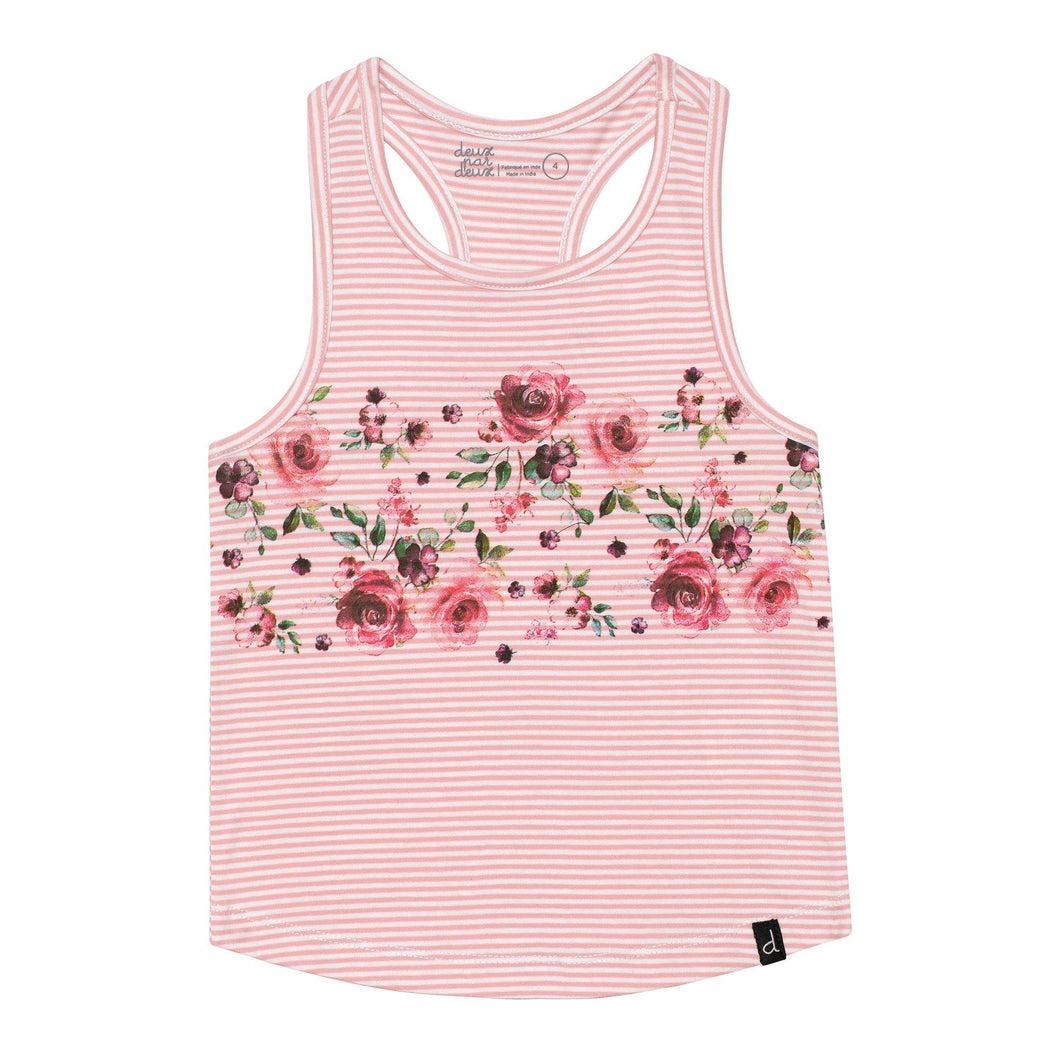 Striped Racerback Tank Top in Pink Girl C30J74_036