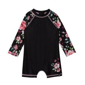 Printed Long Sleeve Rashguard Romper Swimsuit Girl C30M23_000