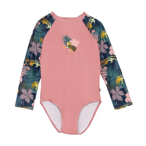 One Piece Rashguard Swimsuit with Printed Sleeves Girl C30M32_000