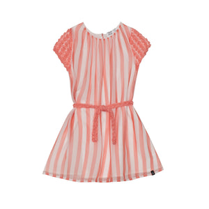Striped Dress with Belt in Coral Girl C30O95_841