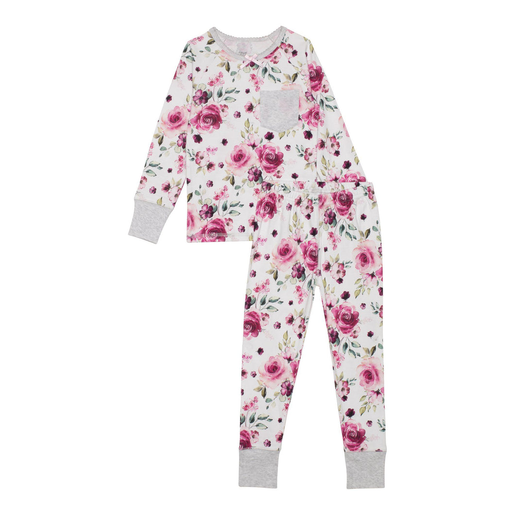 Organic Cotton Long Sleeve Printed Pajama Set with Roses Girl C30PG11_000