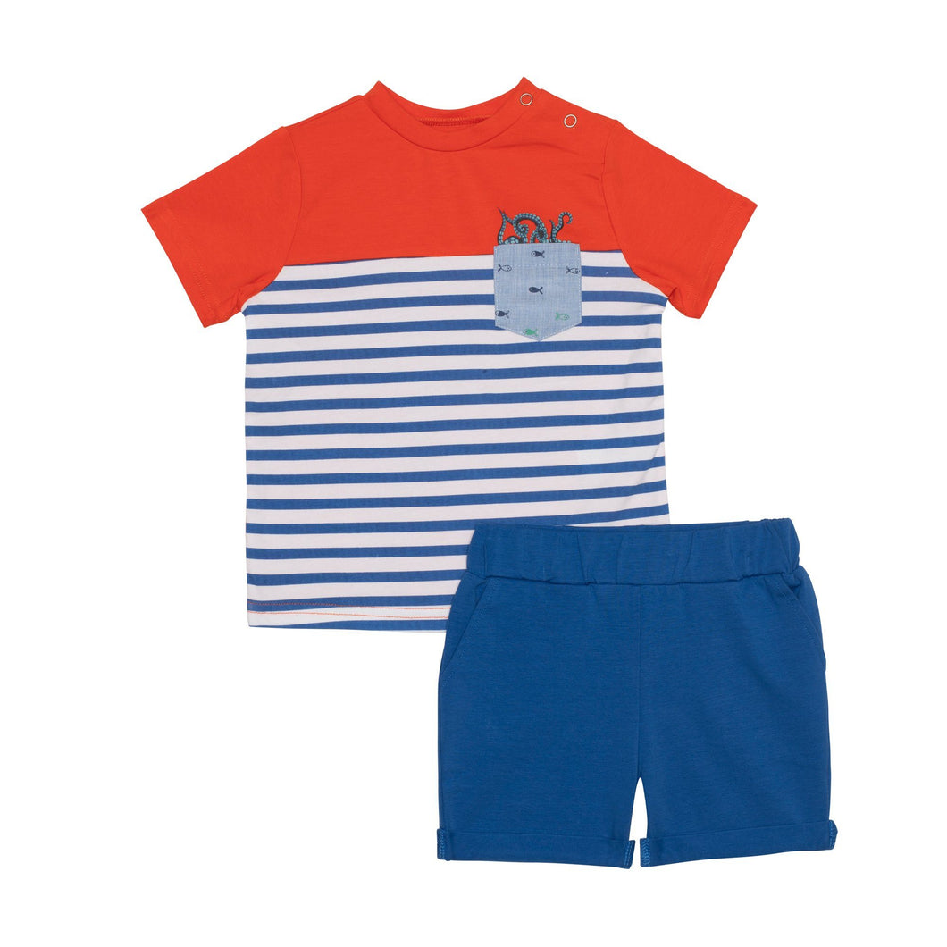 Striped T-Shirt with Pocket and Solid Short Set Boy C30T10_000