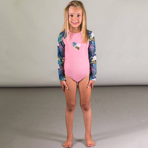 One Piece Rashguard Swimsuit with Printed Sleeves Swimwear Deux par Deux