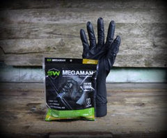 Megaman Absorbent Lined Black Nitrile Gloves