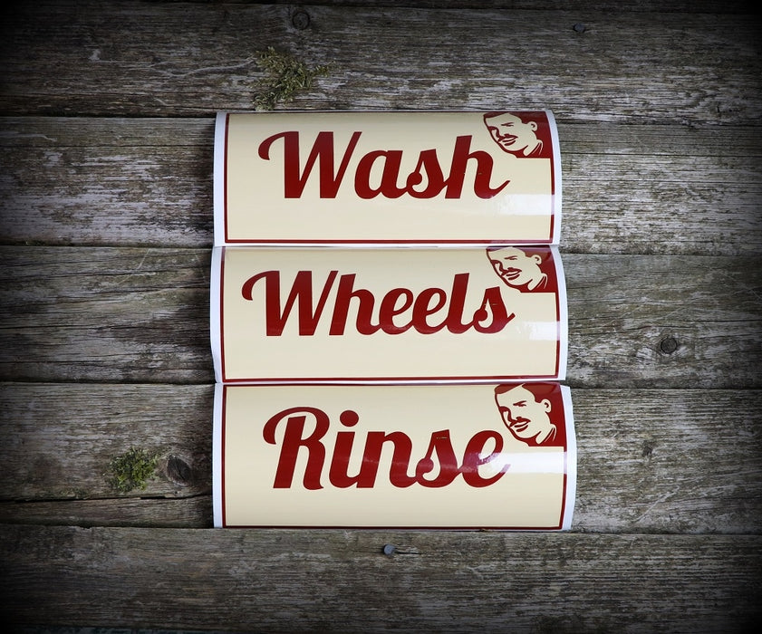 Slim's Bucket Stickers - Wash, Rinse, Wheels