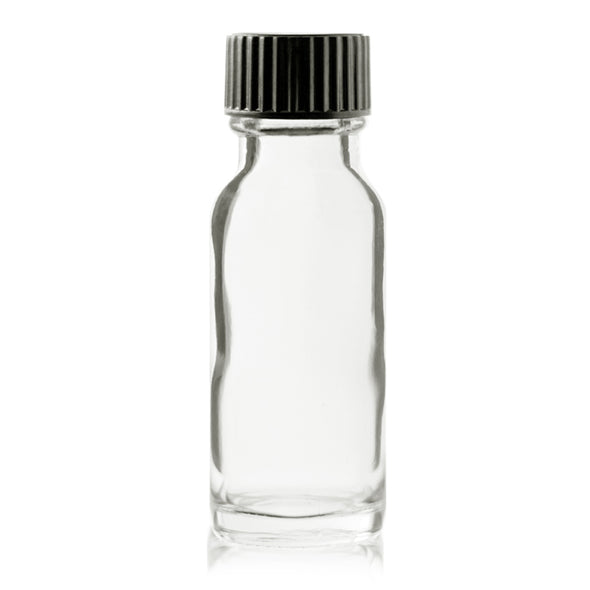 15 ml Clear Boston Round Glass Bottle With Black Cap