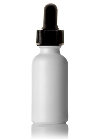 30 mL White Boston Round Glass Dropper Bottle