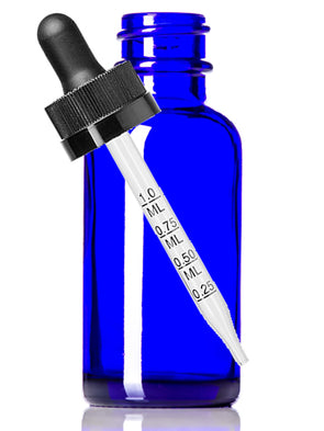 60 ml Cobalt Blue Boston Round Glass Child Resistant Meauring Dropper Bottle