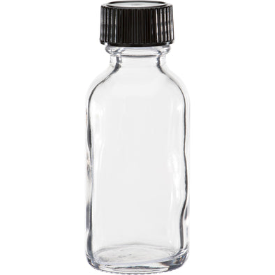 30 ml Clear Boston Round Glass Bottle With Black Cap