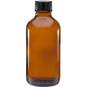 120 ml Amber Boston Round Glass Bottle w/ Black Cap