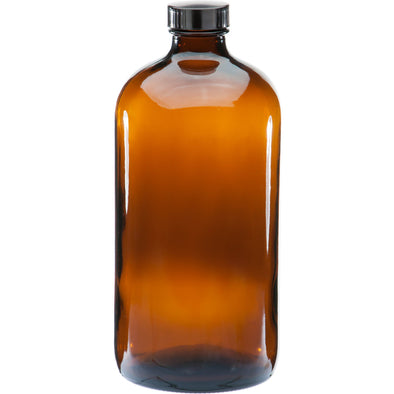1L  Amber Boston Round Glass Bottle w/ Black Lined Cap