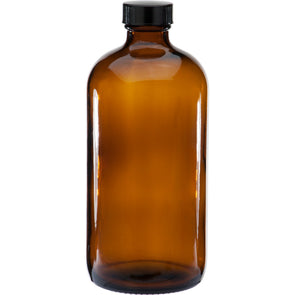 500ml Amber Boston Round Glass Bottle w/ Black Lined Cap