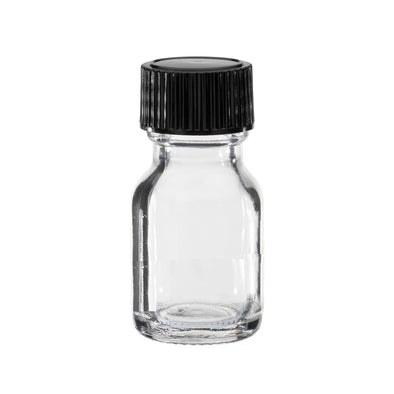 5 ml Clear Boston Round Glass Bottle With Black Cap