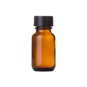 5 ml Amber Boston Round Glass Bottle w/ Black Cap