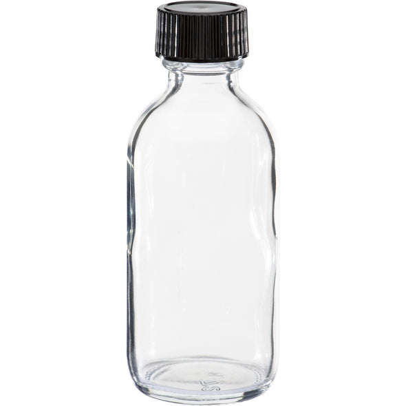 60 ml Clear Boston Round Glass Bottle With Black Cap