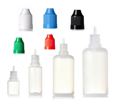Squeezable LDPE Plastic Dropper Bottles w/ Child Resistant Cap