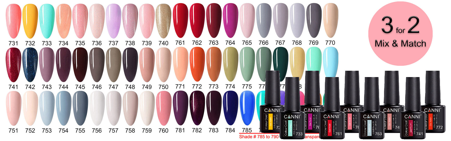 CANNI Lite 8ml UV LED Nail Gel Varnish 60 Colours