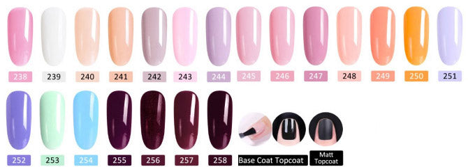 CANNI UV nail gel polish shade card - Shade 238 - 258