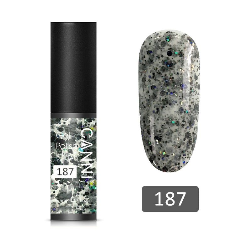 187 - CANNI UV Nail Gel Varnish Flickering Night (5ml)