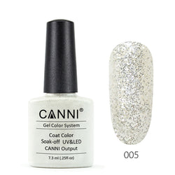 05 - CANNI UV Nail Gel Varnish Colour Light Silver Sequins