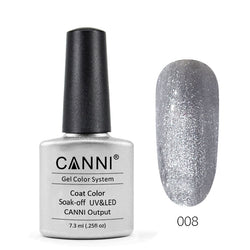 08 - CANNI UV Nail Gel Varnish Colour Metallic Silver