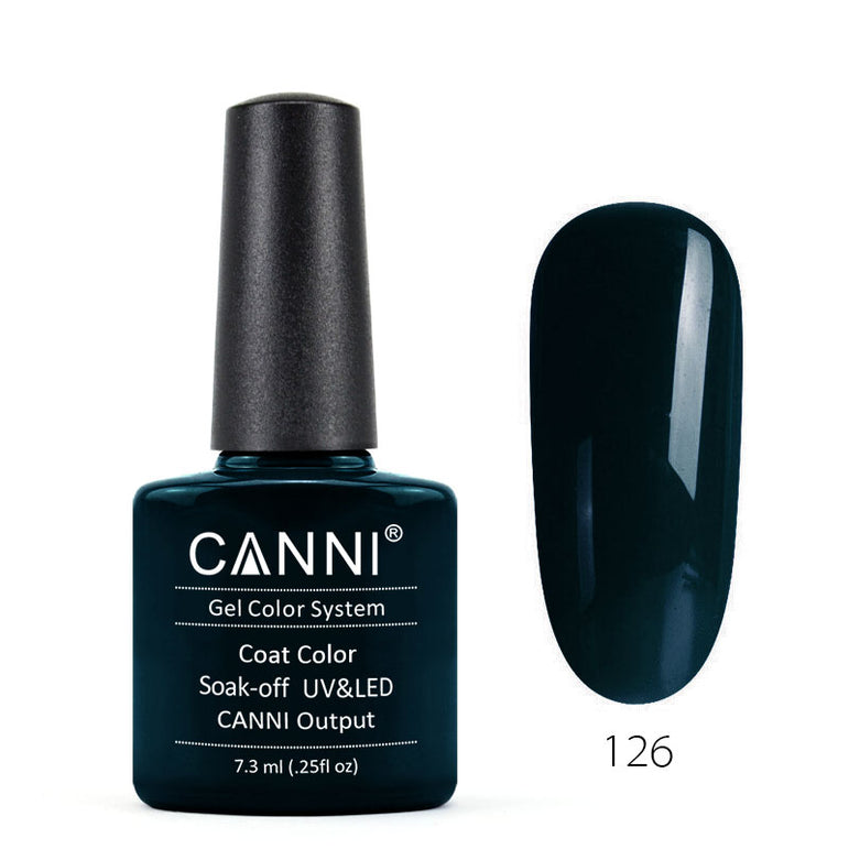 126 - CANNI UV Nail Gel Varnish Colour Dark Green Blue