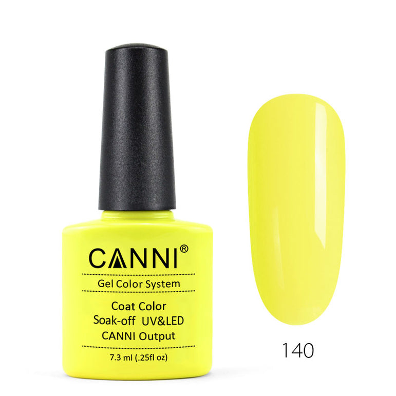 140 - CANNI UV Nail Gel Varnish Colour Electric Yellow