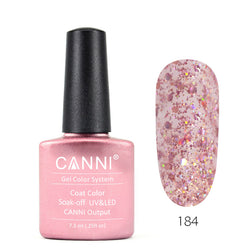184 - CANNI UV Nail Gel Varnish Colour Pink Glitter
