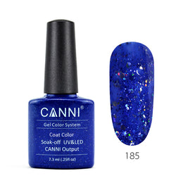 185 – CANNI UV Nail Gel Varnish Colour Blue Glitter