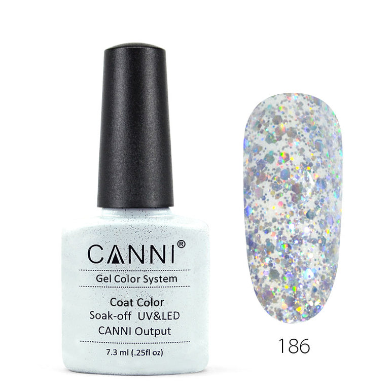 186 - CANNI UV Nail Gel Varnish Colour Silver Glitter