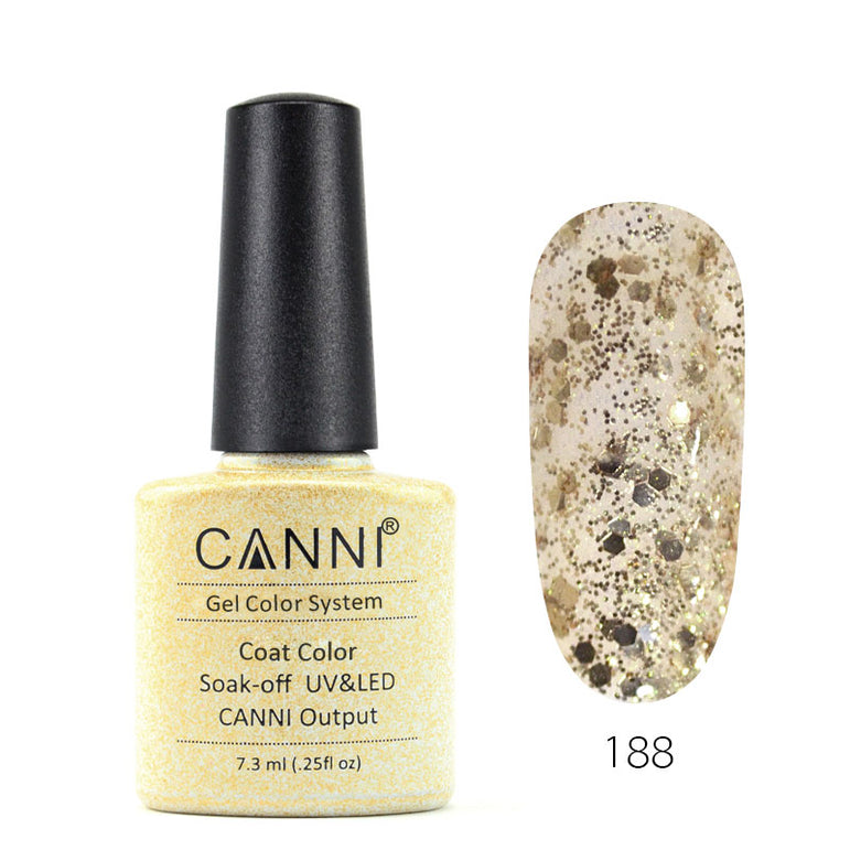 188 - CANNI UV Nail Gel Varnish Colour Gold Tinsel