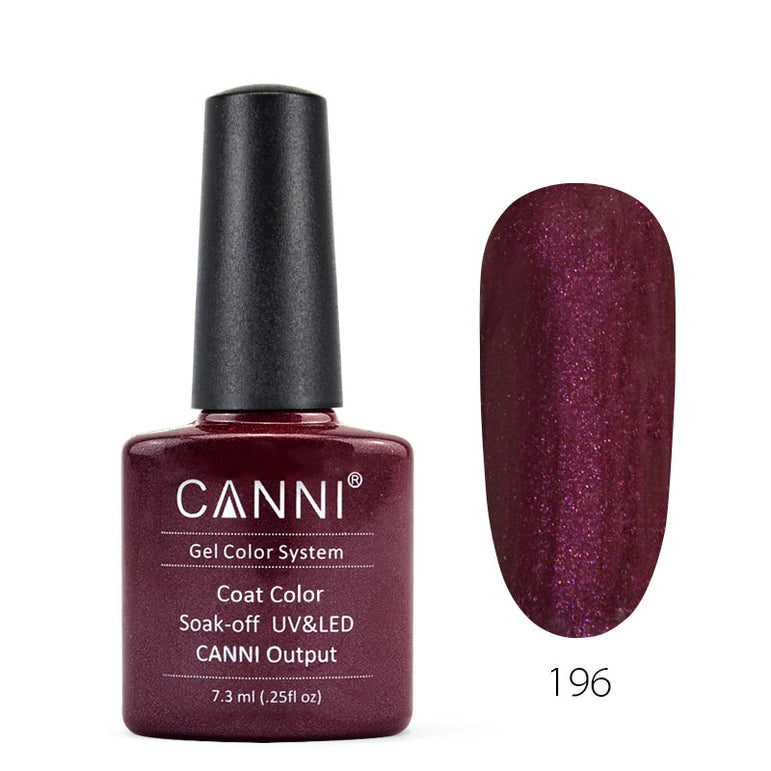 196 - CANNI UV Nail Gel Varnish Colour Plum Nacre
