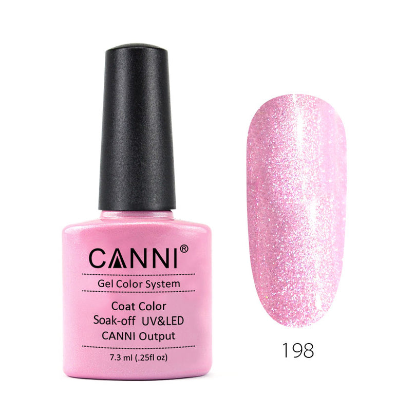 198 - CANNI UV Nail Gel Varnish Colour Light Pink Pearl