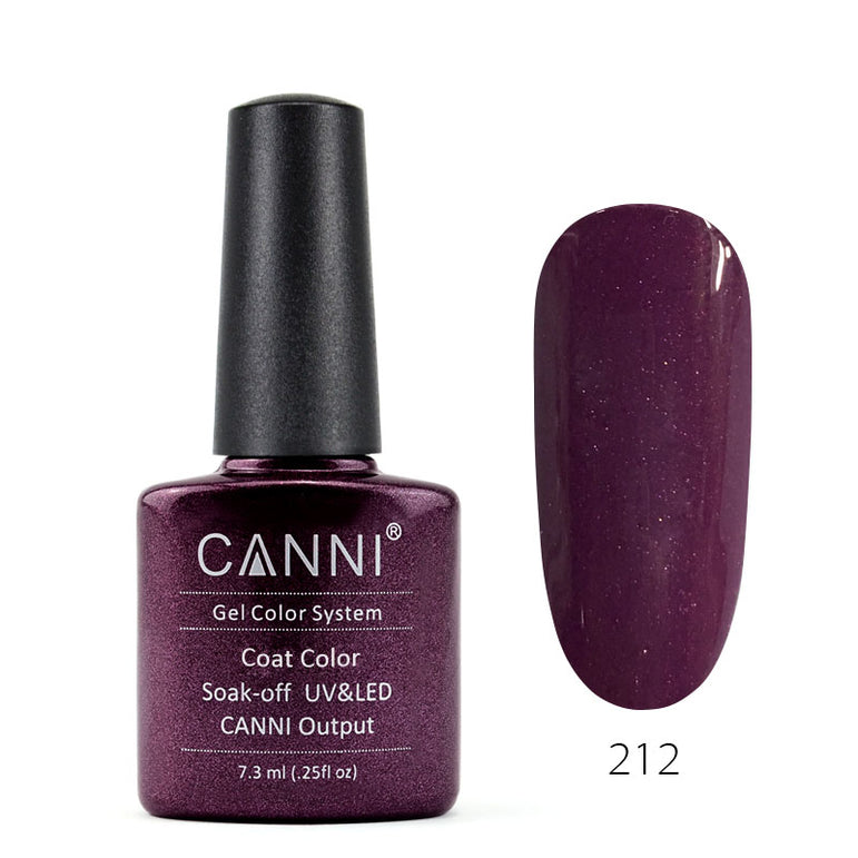 212 – CANNI UV Nail Gel Varnish Colour Purple-Red Pearl
