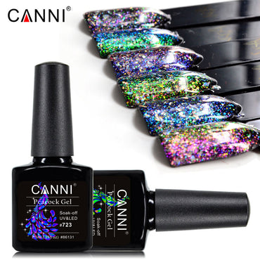 CANNI Peacock Nail Gel Polish Supper Shinning Glitter UV /LED Soak Off Nails Gel