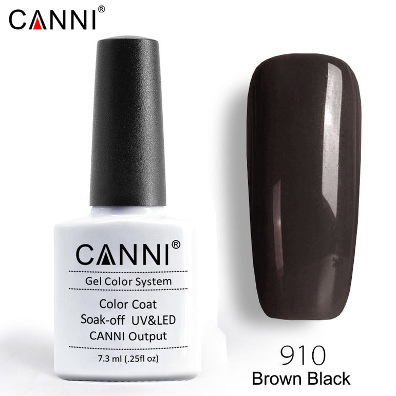 910 - CANNI Premium Nail Gel Polish Colour Brown Black