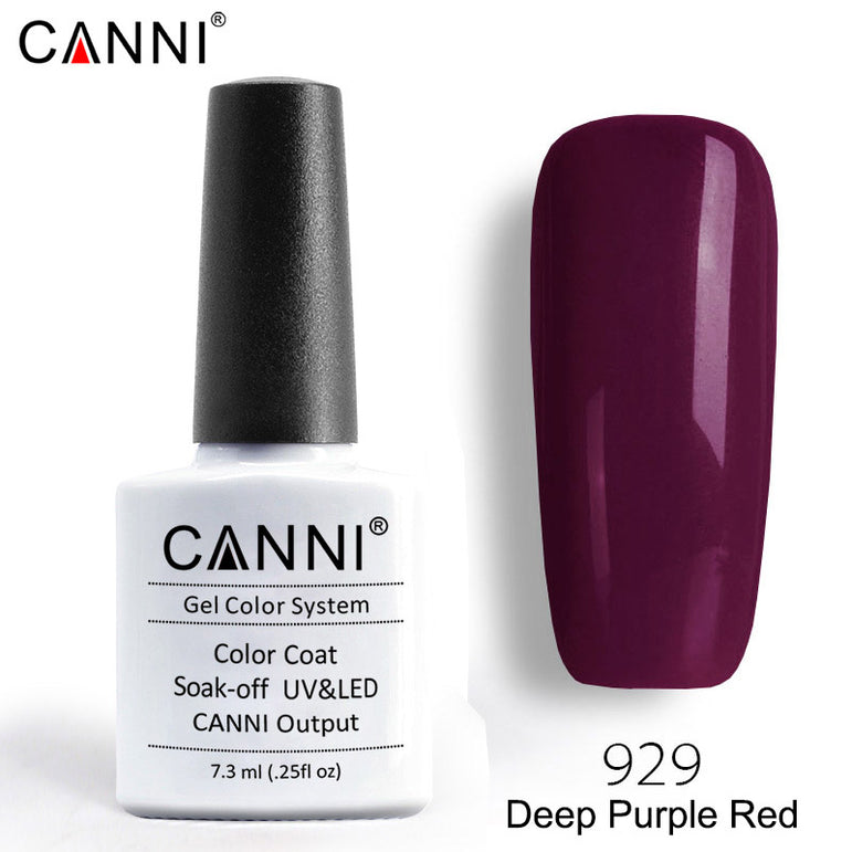 929 – CANNI Premium Nail Gel Polish Colour Deep Purple Red