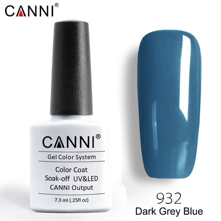 932 – CANNI Premium Nail Gel Polish Colour Dark Grey Blue