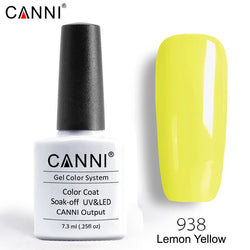 938 – CANNI Premium Nail Gel Polish Colour Lemon Yellow