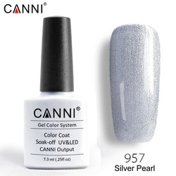 957 – CANNI Premium Nail Gel Polish Colour Pearl Silver