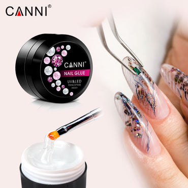 CANNI 15ml Nail gel Glue Rhinestones Adhesives Super Sticky DIY Soak Off Clear Thick Stick Long Lasting Decoration Gel