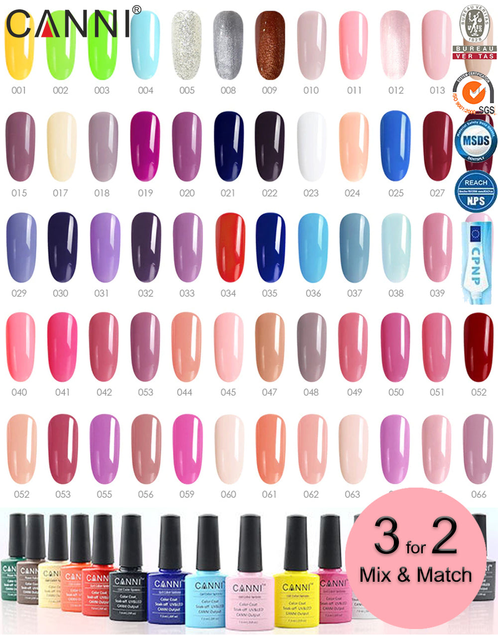 Canni Classic Range Soak Off UV / LED Nail Gel Polish Varnish - Shade 001 to 100