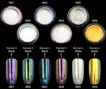 CANNI Mirror Powder Chrome Effect Nails Pigment Silver Dust Shine
