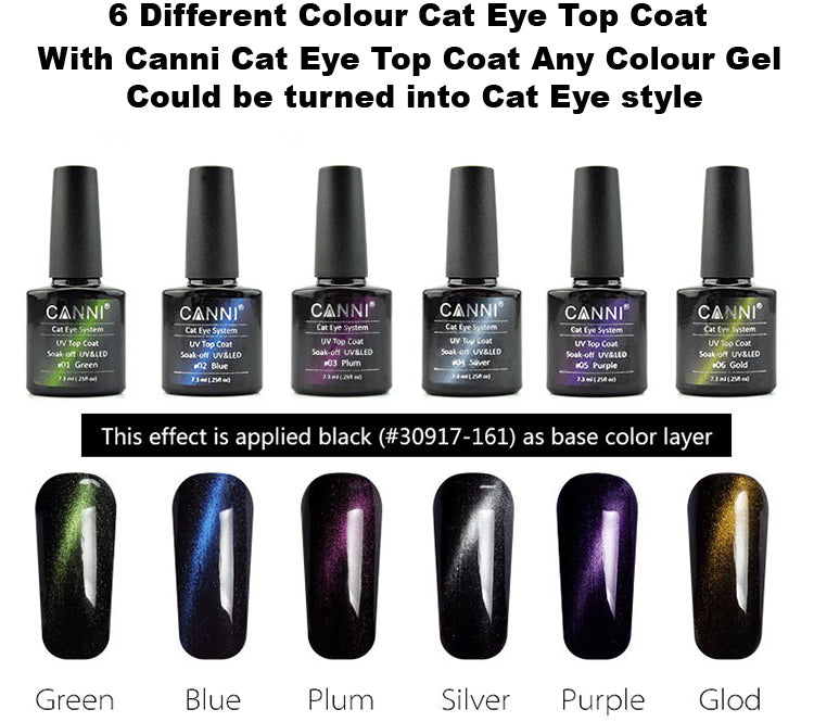 CANNI Magic Cat Eye Topcoat Special Design for UV Nail Gel - Magnetic Gel Polish