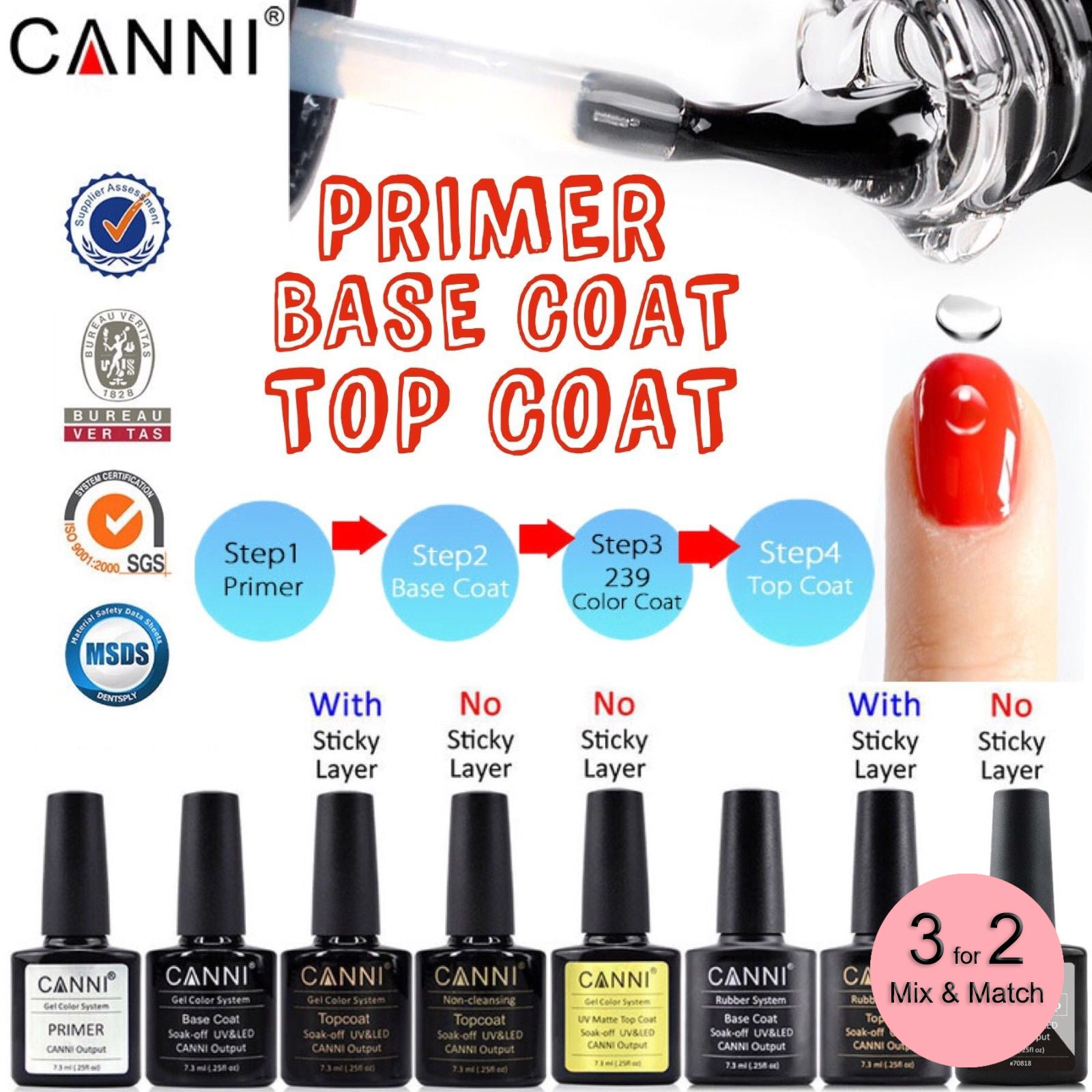 CANNI Matte / Non Cleansing / Tempered / Rubber Top Coat / Base Coat - 7.3ml Bottle
