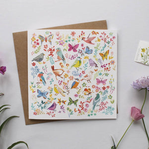 Aviary Bird & Flower Illustrated Greetings Card