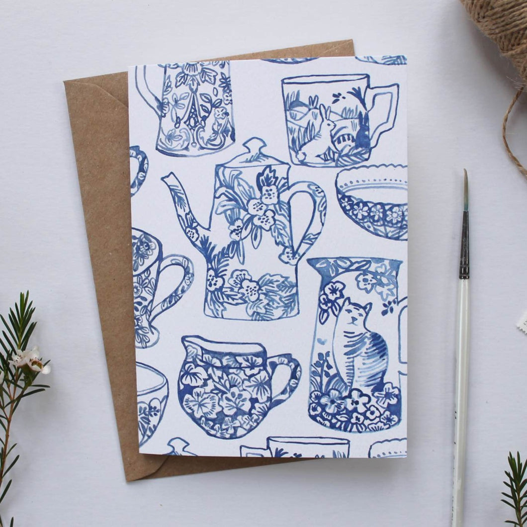 Blue & White Patterned Ceramics Illustrated Greetings Card