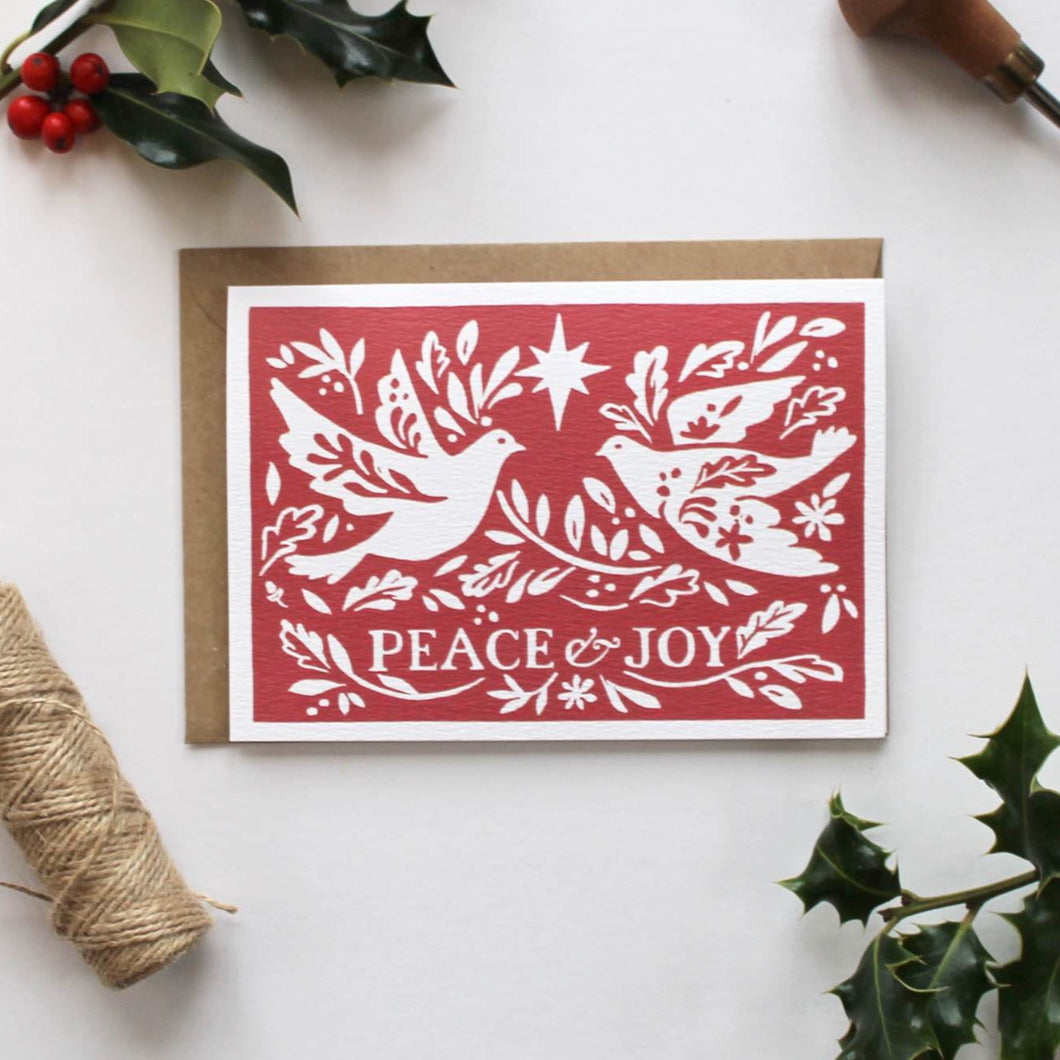 Red Peace & Joy Illustrated Greetings Card