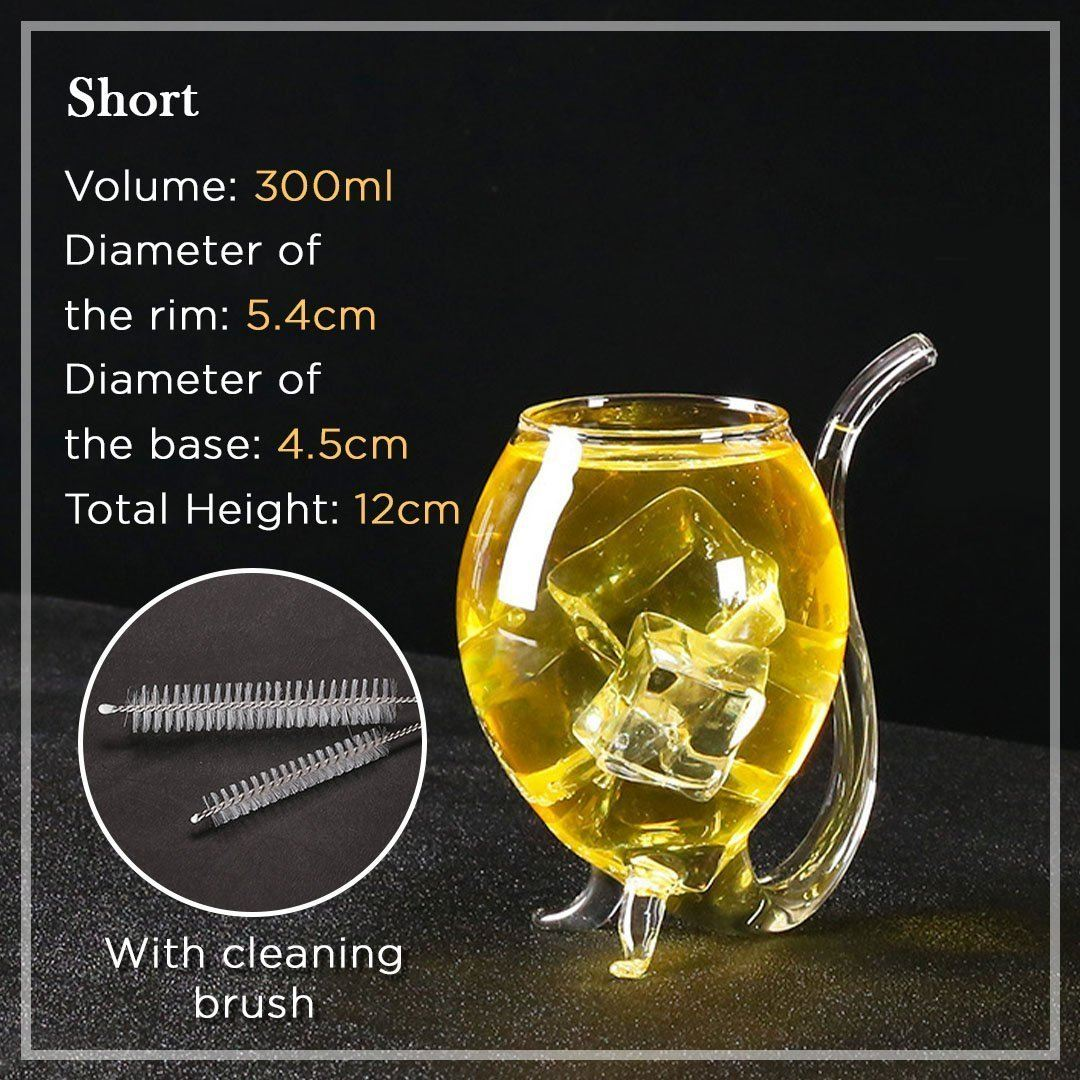 Heat-resistance Cocktail Glass with Straw [Free Cleaning Brush]