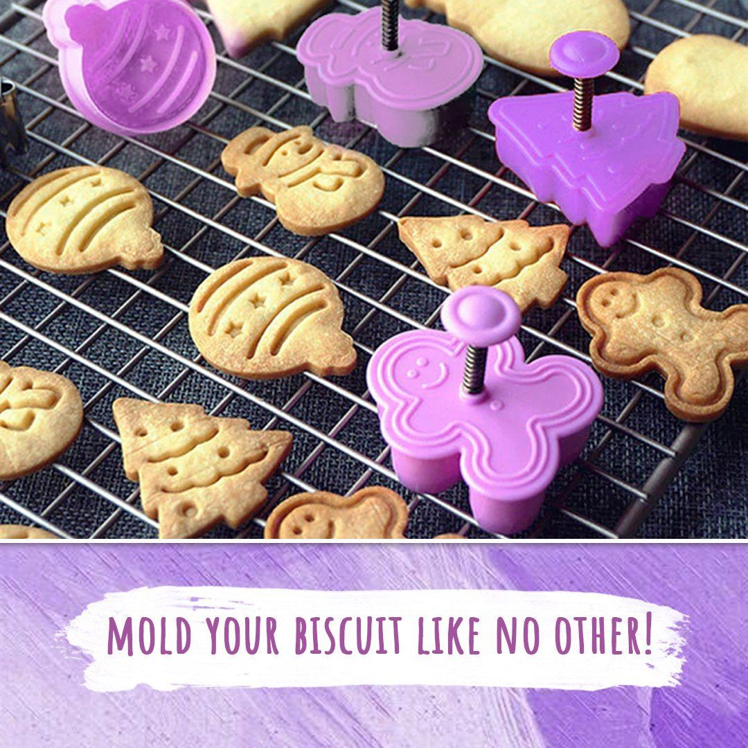 4pcs Stamp Biscuit Mold